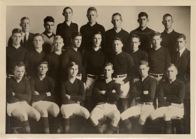 "Berkeley High School Rugby Team, 1912. (Colby E. ""Babe"" Slater, back row, first from right)"