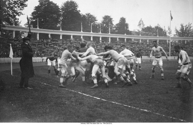 1920 Olympic Match at the Antwerp Stadium. Babe Slater is second player from left.