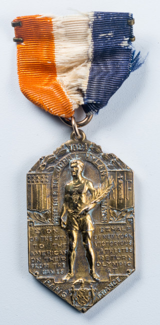 Medal bestowed on the victorious 1924 American athletes by the city of New York