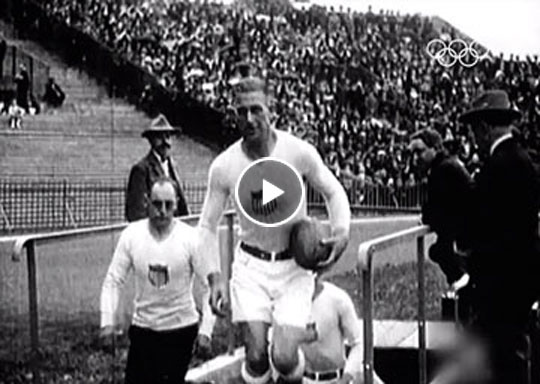 See video from the 1924 Olympic Rugby gold-medal match. Slater is seen holding the ball while leading the team out of the tunnel.