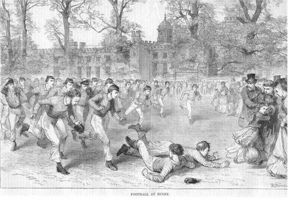 Football at Rugby School ca 1820s